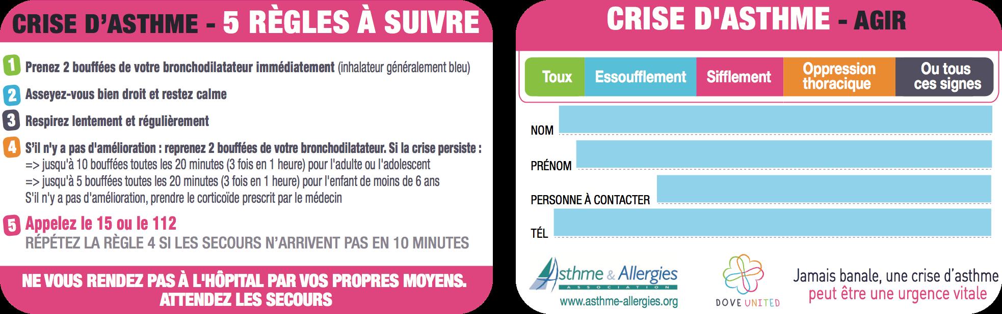 carte crise d'asthme - Asthme et Allergies et Urticaire